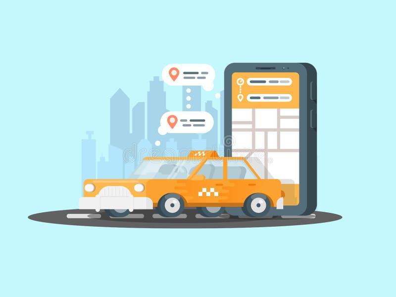 Smartphone med tjänste- applikation för taxi på en skärm och en bil Mobil app för att beställa för onllinetaxi stock illustrationer