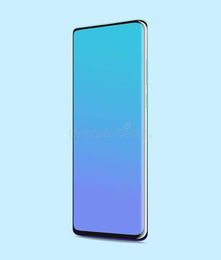 Smartphone med tomt avsk?rmer Fullscreen realistiskt på blå bakgrund arkivbild