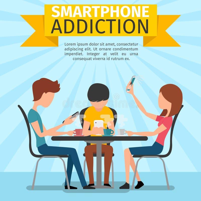 Smartphone, media social et dépendance d'Internet illustration libre de droits
