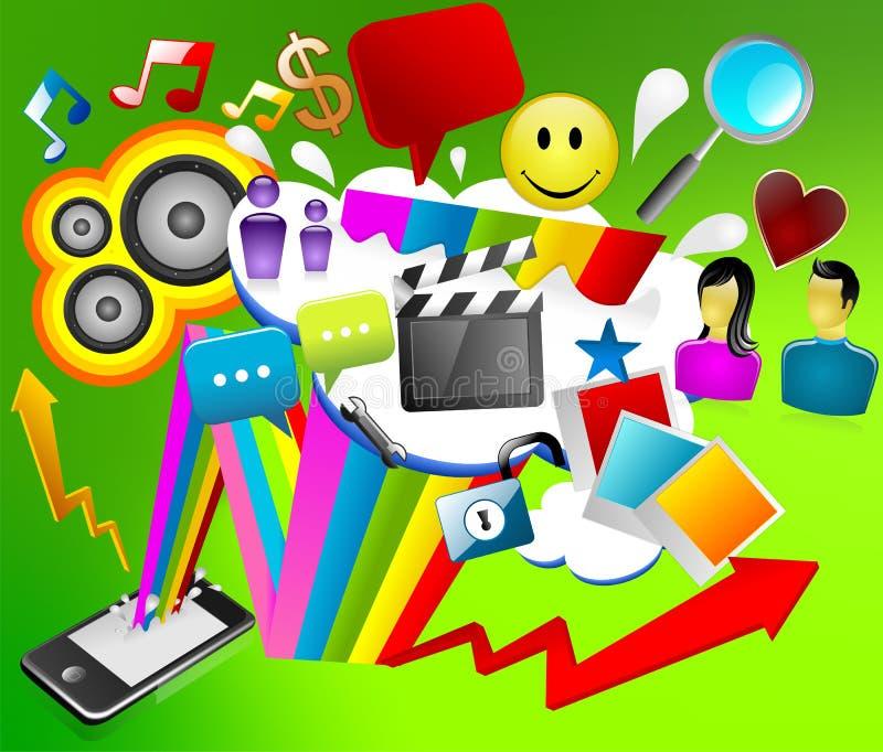 smartphone medialny socjalny ilustracji