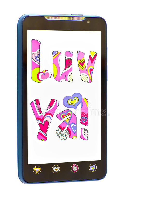 Smartphone with message. Of Luv ya and hearts on the buttons royalty free stock photography