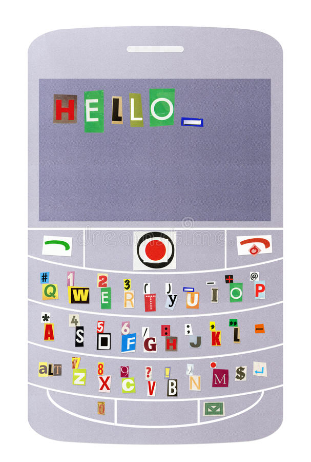 Smartphone with message Hello. Artistic cartoon style collage - smartphone with Qwerty keyboard and text message Hello on lcd, made from cutout magazine fonts royalty free stock photos