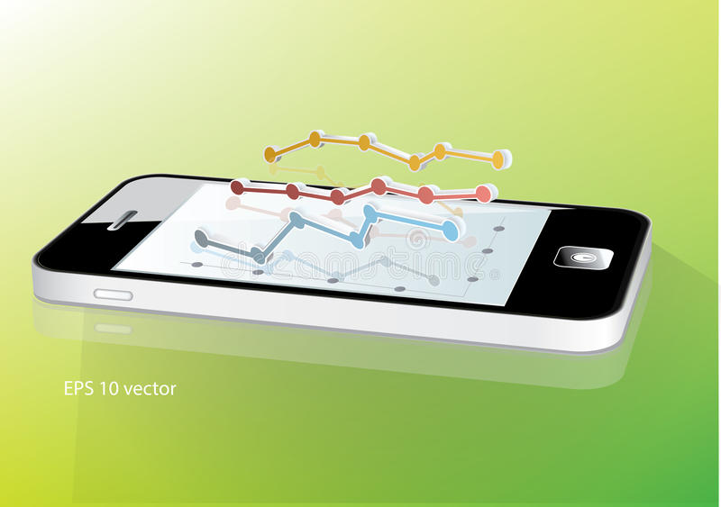 Smartphone met bedrijfsgrafiek royalty-vrije illustratie