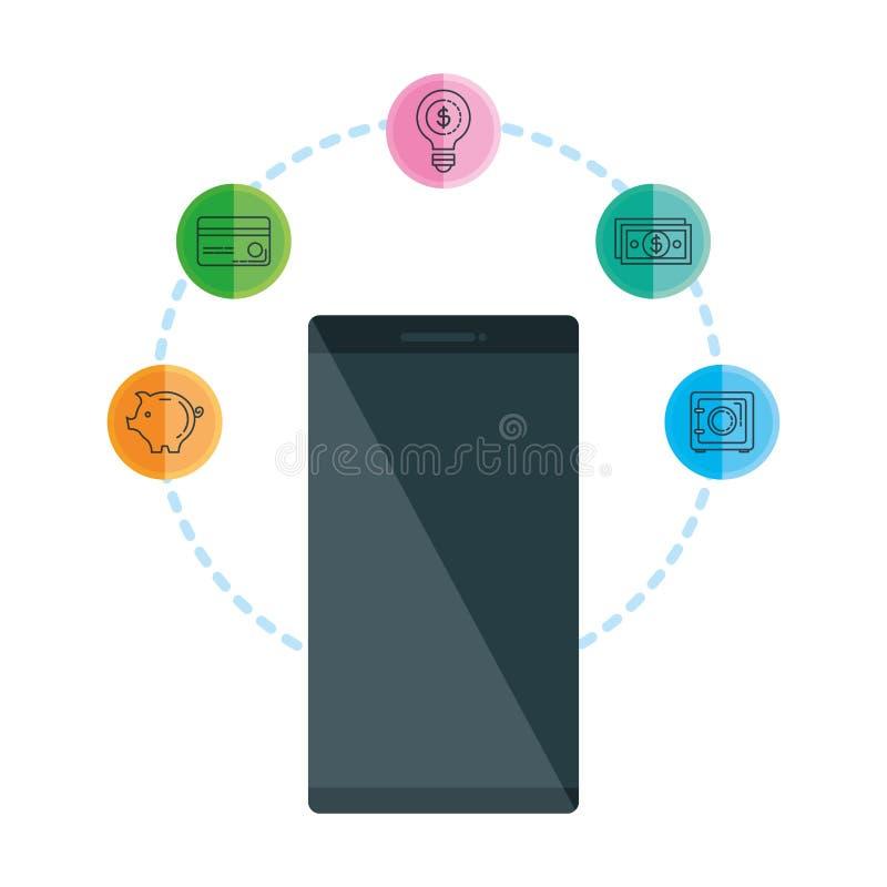 Smartphone met bedrijfspictogrammen royalty-vrije illustratie