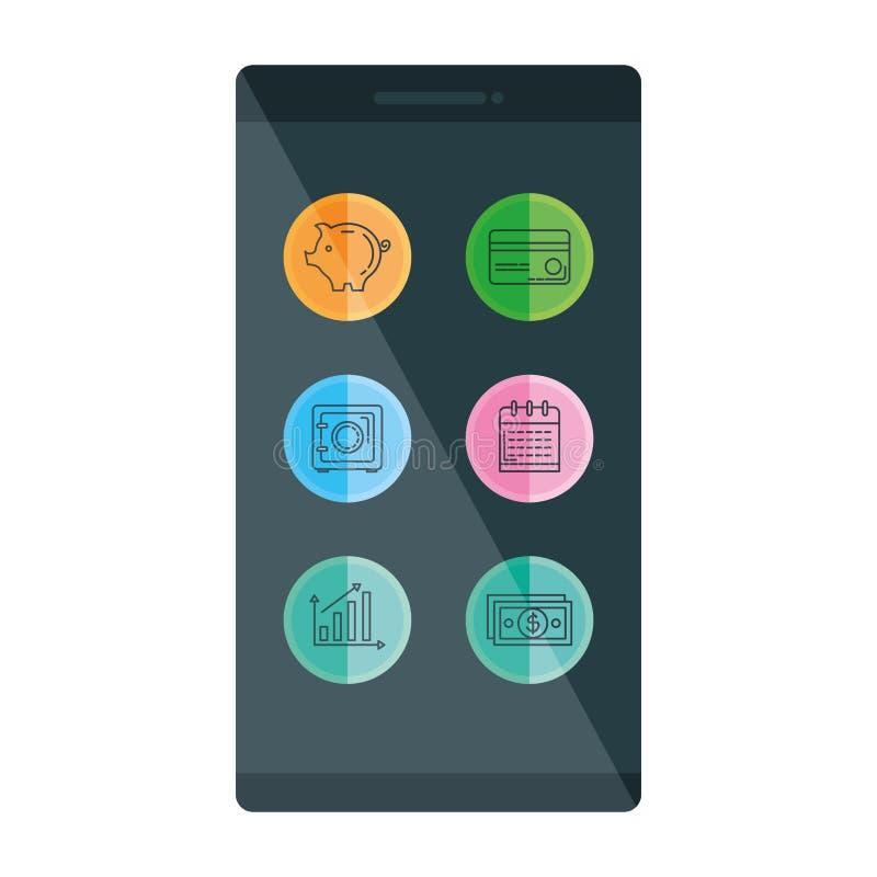 Smartphone met bedrijfspictogrammen stock illustratie