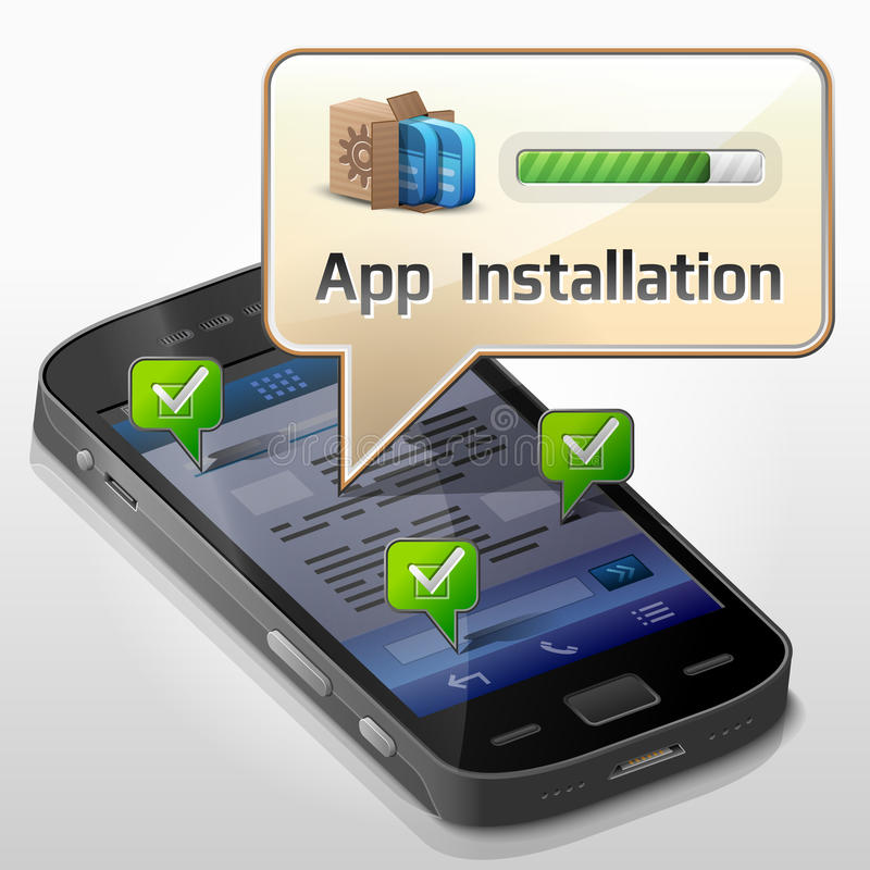 Smartphone met berichtbel over app installat stock illustratie