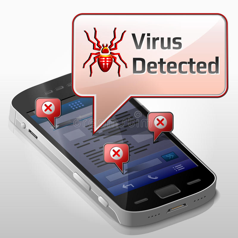 Smartphone met berichtbel over computerviru royalty-vrije illustratie