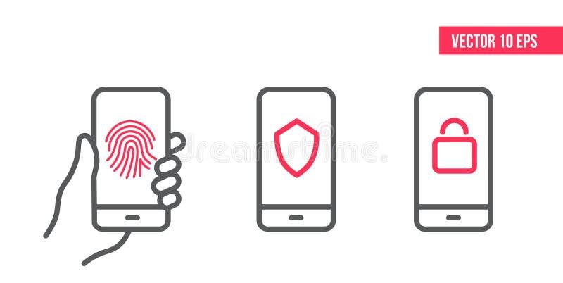 Smartphone met Bescherming en veiligheidslijnpictogrammen op het scherm Gemachtigde handtekening, Vingeraftasten, Schildveilighei stock illustratie