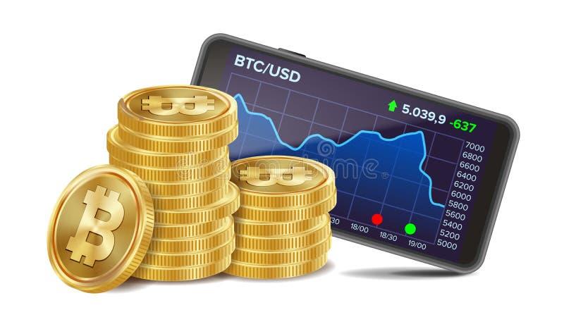 Smartphone met Bitcoin-de Vector van de Handelgrafiek Realistische Gouden muntstukken Virtueel Geld Geïsoleerd op Witte Illustrat vector illustratie