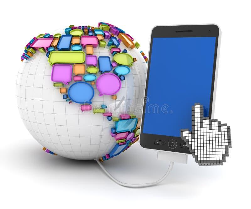 Smartphone met bol met toespraakbellen die wordt verbonden stock illustratie