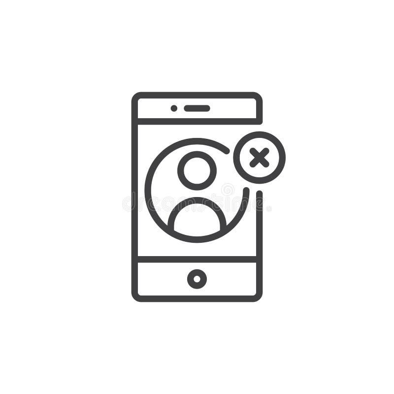 Smartphone met contact verwijdert op het pictogram van de vertoningslijn royalty-vrije illustratie
