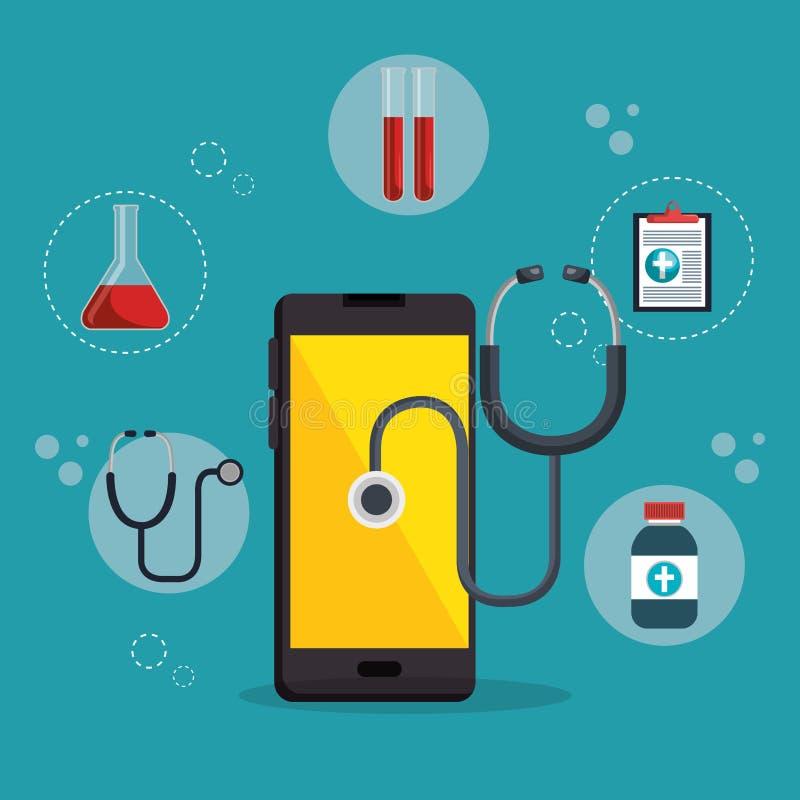Smartphone met de medische diensten app vector illustratie
