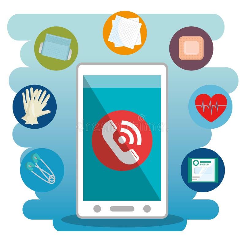 Smartphone met de medische diensten app royalty-vrije illustratie