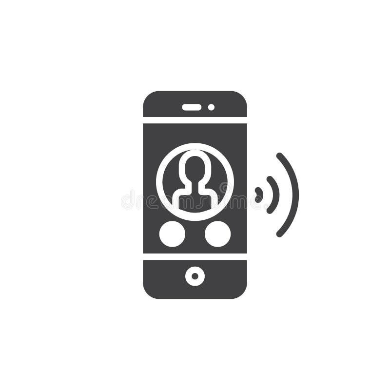 Smartphone met de online vector van het praatjepictogram vector illustratie