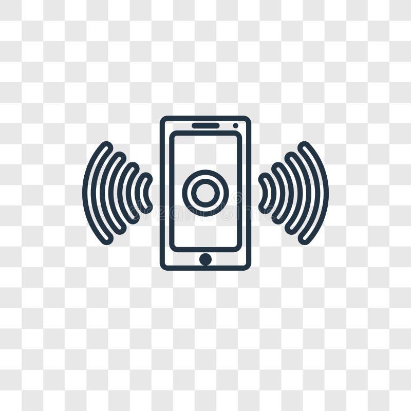 Smartphone met Draadloos vector lineair pictogram i van het Verbindingsconcept stock illustratie
