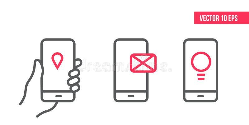 Smartphone met e-mailtoepassing op het scherm, plaatspictogram en het Pictogram van de ideelijn Mobiele in hand vector illustratie