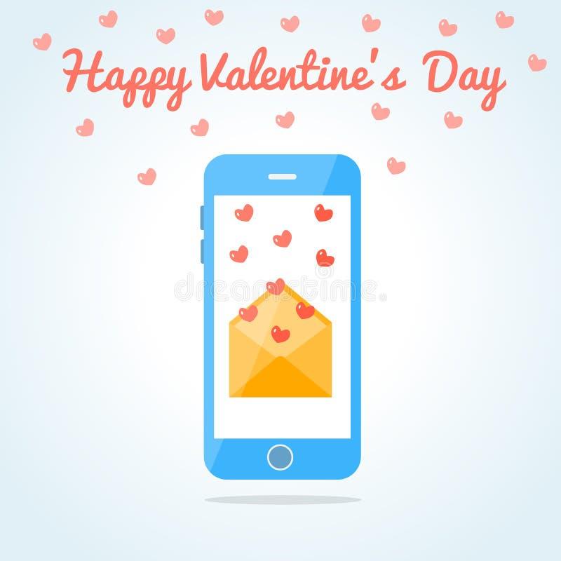 Smartphone Met Een Open Liefde Sms Of E Mail Vector