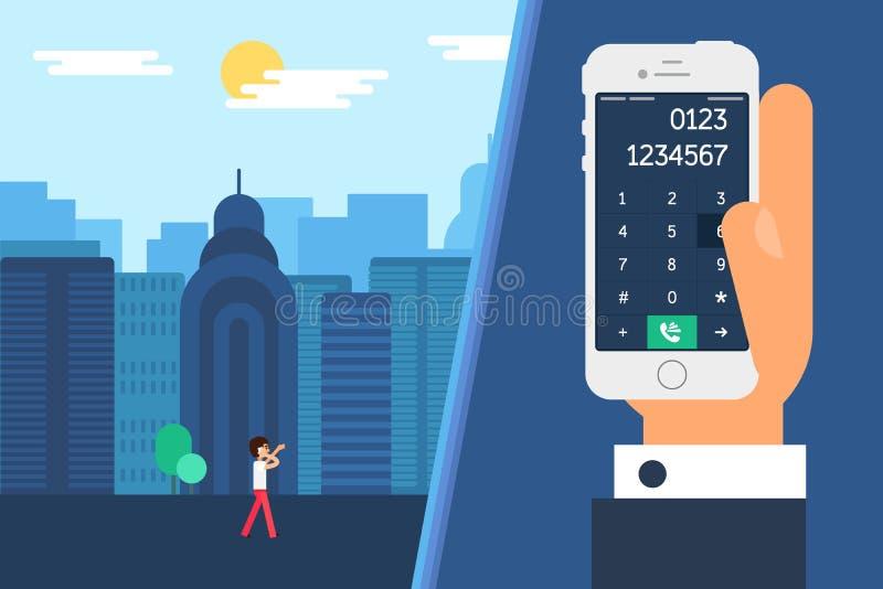Smartphone met een wijzerplaat vector illustratie