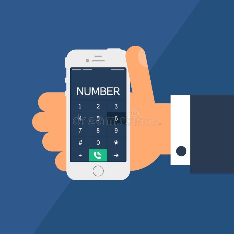 Smartphone met een wijzerplaat stock illustratie