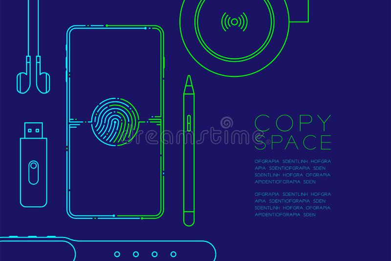 Smartphone met elektronische apparaten stormt lijn, Gadgetconceptontwerp, Editable-blauwe slagillustratie en groen geïsoleerd op  vector illustratie