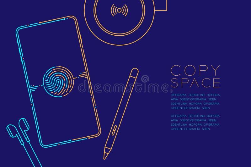 Smartphone met elektronische apparaten stormt lijn, Gadgetconceptontwerp, Editable-blauwe slagillustratie en sinaasappel die op d vector illustratie