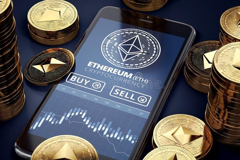 Smartphone met Ethereum-handelgrafiek op scherm onder stapels van gouden Ethermuntstukken stock illustratie