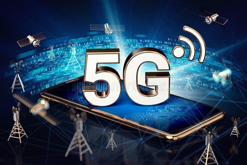 Smartphone met 5G-teken op het scherm bepalen omringd door de knopen van de de gegevensoverdracht van het hoge snelheidsnetwerk O royalty-vrije stock afbeelding
