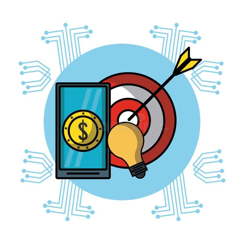 Smartphone met geld en doeldartboard royalty-vrije illustratie