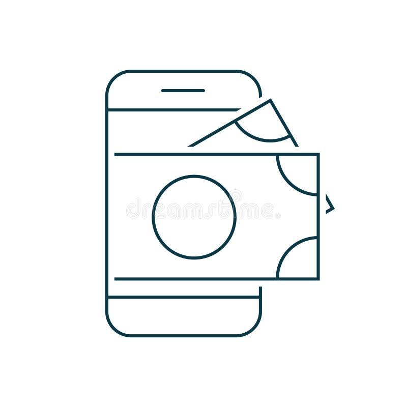 Smartphone met geld op het scherm royalty-vrije illustratie