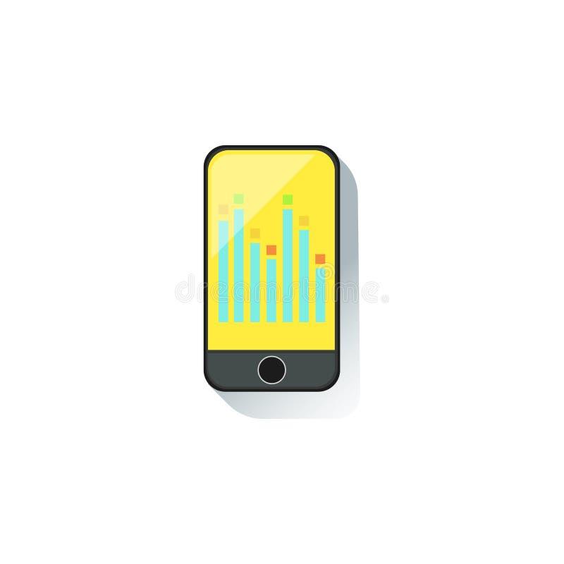 Smartphone met Grafische Grafiek bij het Bureauelement van de het SchermBeambte, een Deel van Werkplaatshulpmiddelen en de Statio stock illustratie