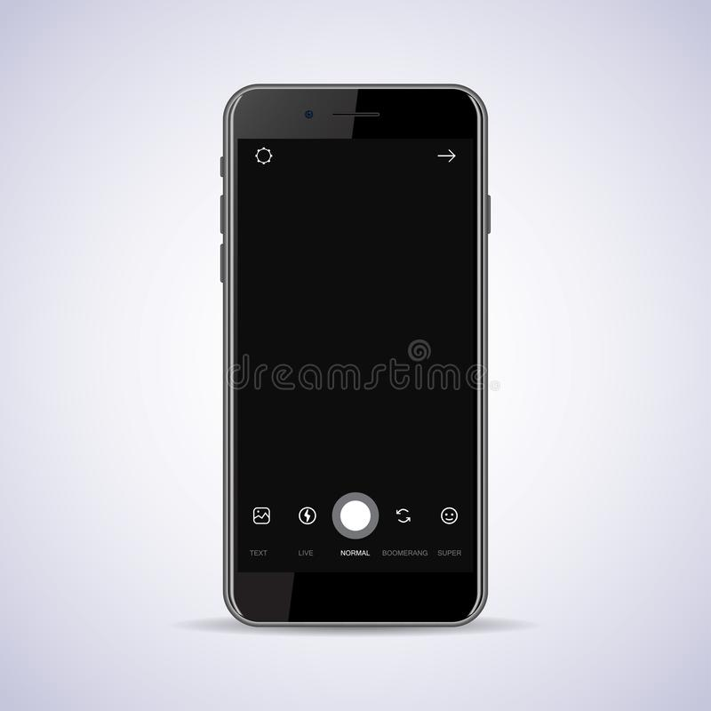 Smartphone met het kader van de camerainterface met vlakke die pictogrammen op zwarte achtergrond wordt geïsoleerd royalty-vrije illustratie
