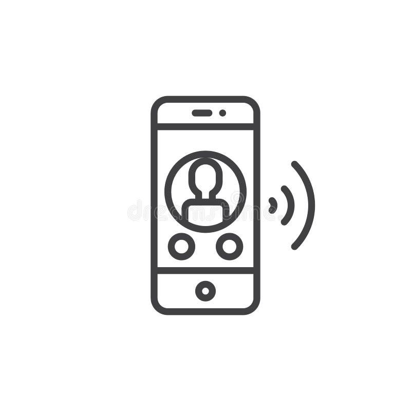Smartphone met het online pictogram van de praatjelijn royalty-vrije illustratie