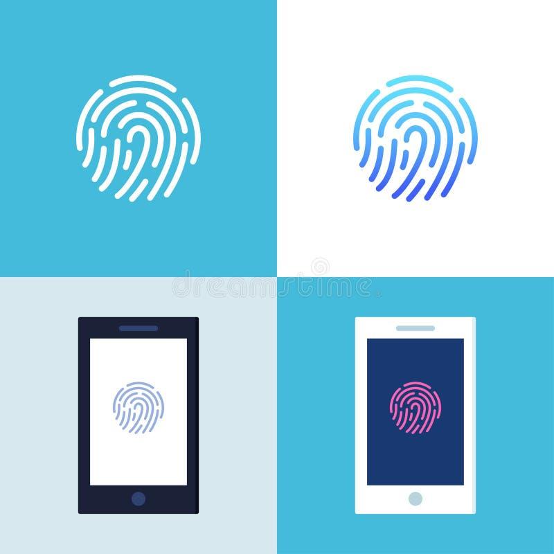 Smartphone met het Teken van de Vingerafdrukauthentificatie op het Scherm Identificatie, Controle en Gegevensbeschermingconcept vector illustratie