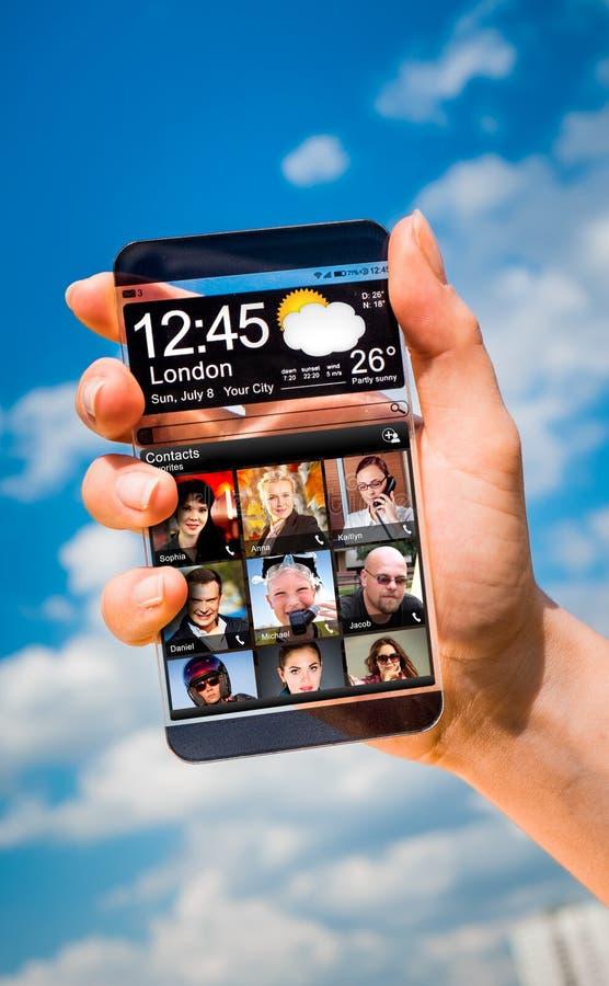 Smartphone met het transparante scherm in menselijke handen stock fotografie