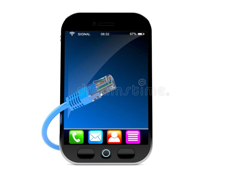 Smartphone met netwerkkabel vector illustratie