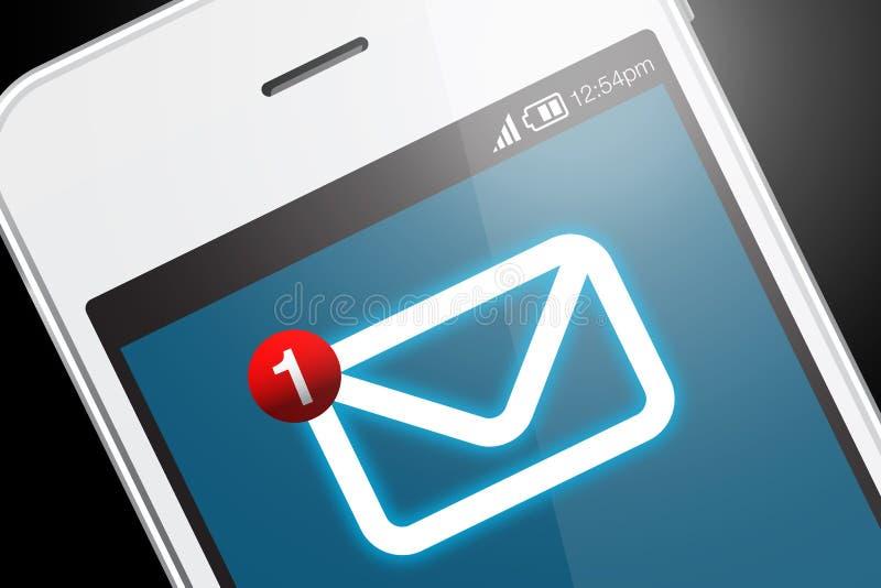Smartphone met nieuw berichtpictogram stock foto's