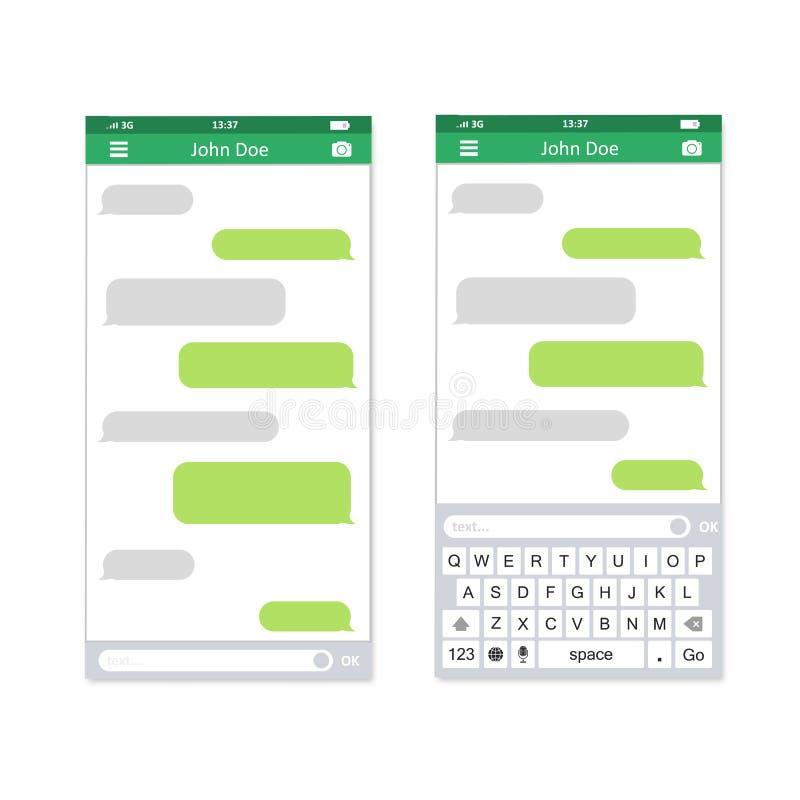 Smartphone met overseinen sms app, vectorillustratie i stock illustratie