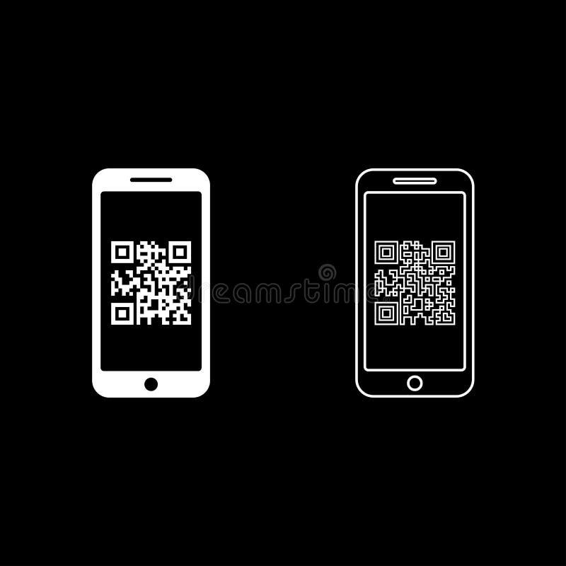 Smartphone met QR-code op van de het overzichts het vastgestelde witte kleur van het het schermpictogram beeld van de de illustra stock illustratie