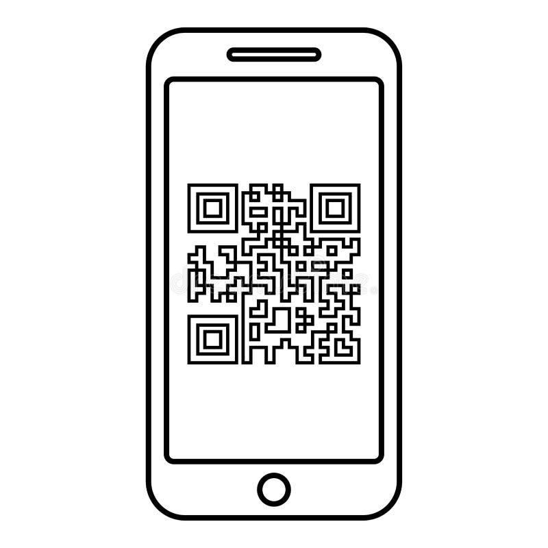 Smartphone met QR-code op van de het overzichts het zwarte kleur van het het schermpictogram beeld van de de illustratie vlakke s royalty-vrije illustratie