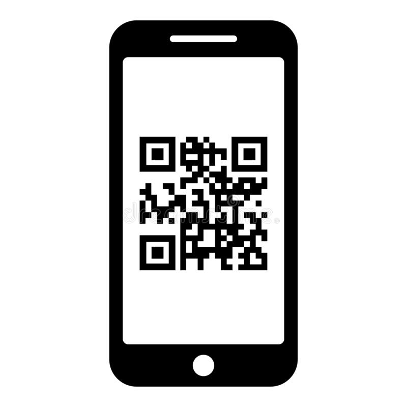 Smartphone met QR-code op van de de kleuren vectorillustratie van het het schermpictogram zwart vlak de stijlbeeld vector illustratie