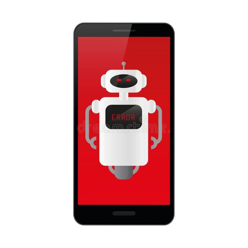Smartphone met rode foutenvertoning en robot royalty-vrije illustratie