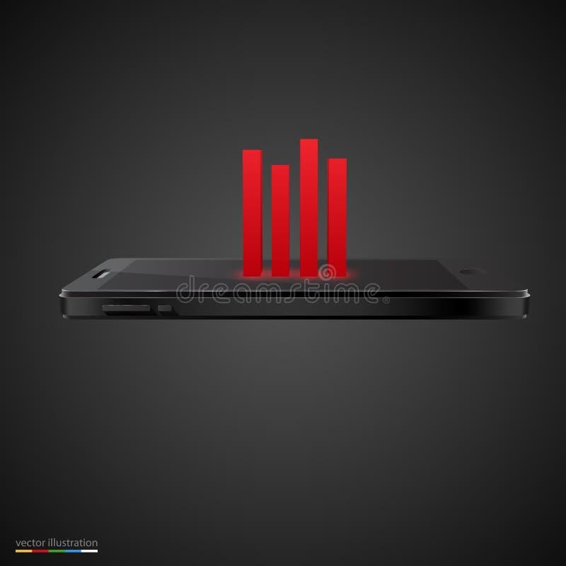Smartphone met rode grafiek op zwarte achtergrond. stock illustratie