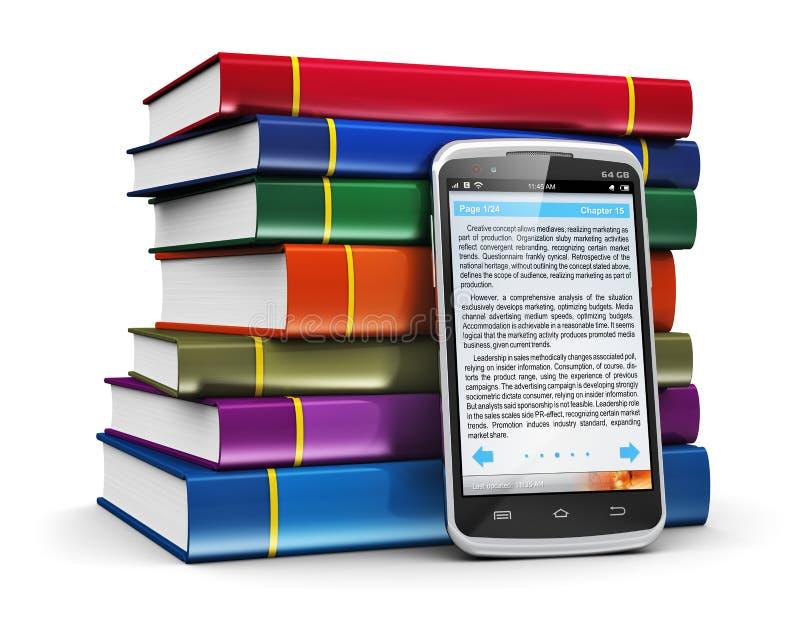 Smartphone met tekst en stapel kleurenboeken royalty-vrije illustratie