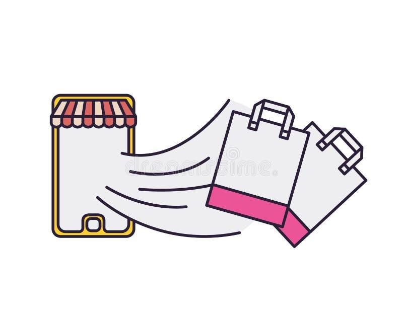 Smartphone met tent en het winkelen zak die uit komen royalty-vrije illustratie