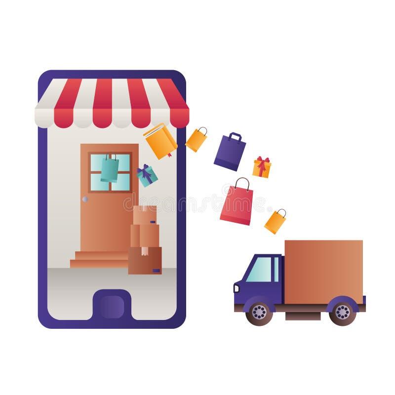 Smartphone met tent en leveringsauto vector illustratie