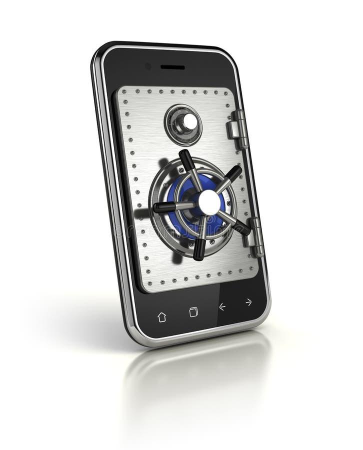 Smartphone met veilige deur royalty-vrije illustratie