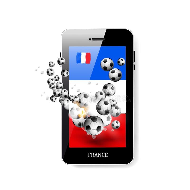 Smartphone met vlag van Frankrijk en voetbalbal royalty-vrije illustratie