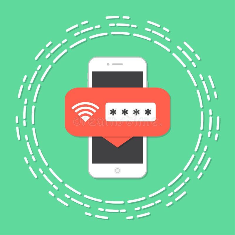 Smartphone met wifi draadloos die apparaat aan Internet wordt aangesloten - dat is veilig royalty-vrije illustratie