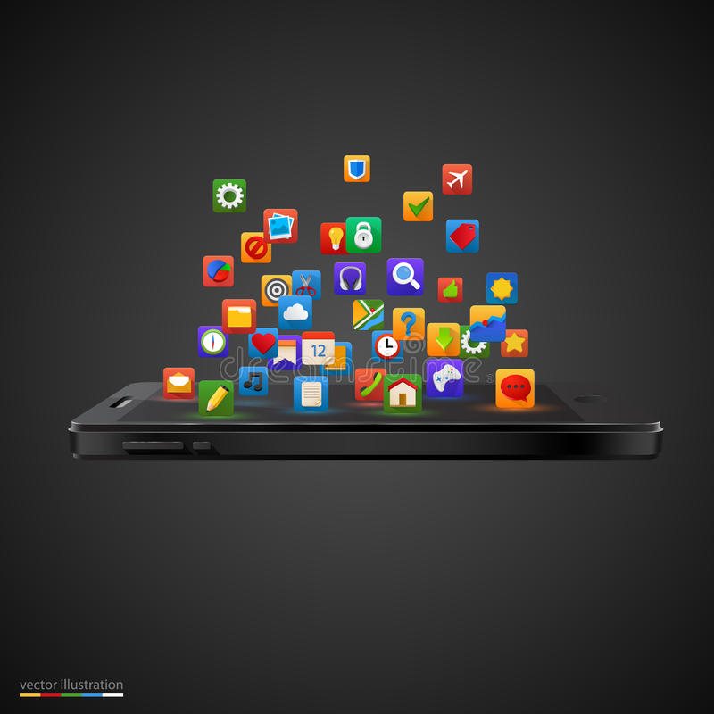 Smartphone met wolk van toepassingspictogrammen. vector illustratie