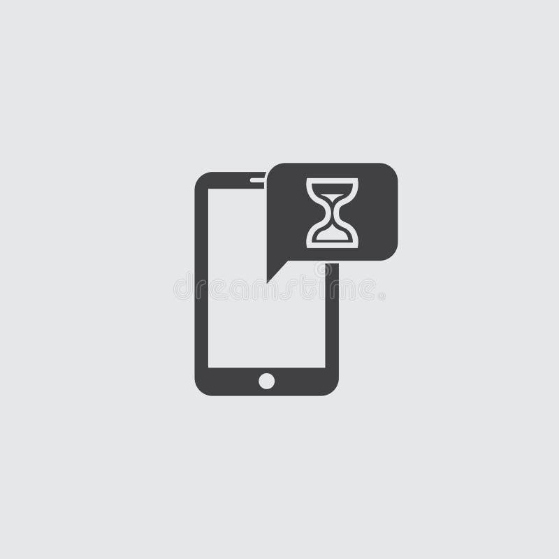 Smartphone met zandloperpictogram in een vlak ontwerp in zwarte kleur Vector illustratie EPS10 royalty-vrije illustratie